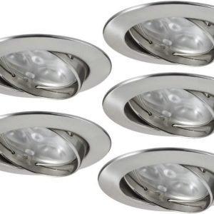 LED-alasvalosetti Premium Line 5x3W Ø 83 mm 5 kpl harjattu teräs