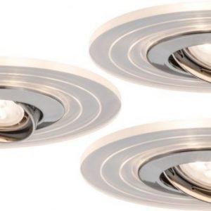 LED-alasvalosetti Two Step LED-renkaalla 3 kpl Ø 150 mm IP23 harjattu teräs/läpinäkyvä suunnattava