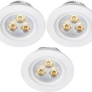 LED-alasvalosetti Zeus 3x1W 3000K IP44 3-osainen valkoinen