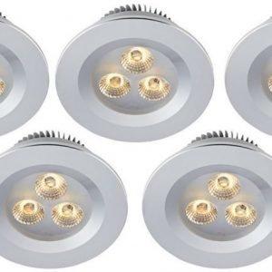 LED-alasvalosetti Zeus 3x1W 3000K IP44 5-osainen alumiini