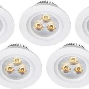 LED-alasvalosetti Zeus 3x1W 3000K IP44 5-osainen valkoinen