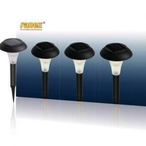 LED-aurinkokennolla varustettu pihavalaisin jossa maapiikki kolmen kappaleen pakkaus