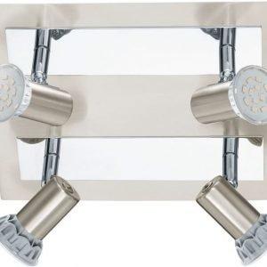 LED-kattospotti Rottelo 260x240 mm 4-osainen harjattu teräs/kromi