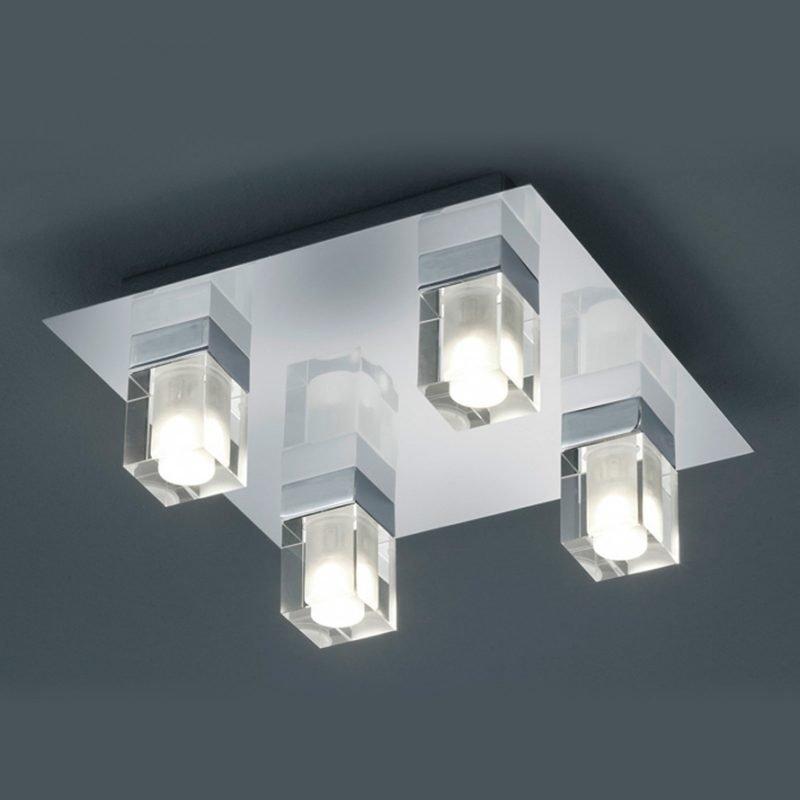 LED-kattovalaisin H2O 2819 250x250x100 mm IP44 4-osainen kromi/kirkas/huurre