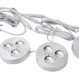 LED kohdevalosarja 3x3W pinta/uppo valkoinen tai hopea