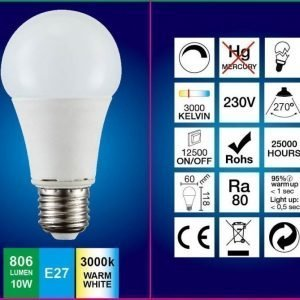 LED-lamppu A60 FocusLight 10W 230V 3000K 806lm IP20 Ø 60mm valkoinen