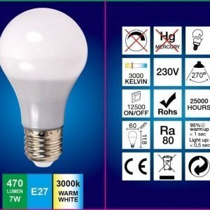 LED-lamppu A60 FocusLight 7W 230V 3000K 470lm IP20 Ø 60mm valkoinen