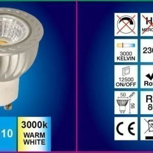 LED-lamppu GU10 FocusLight 5W 230V 3000K 350lm IP20 Ø 50mm harmaa