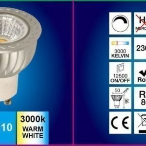 LED-lamppu GU10 FocusLight 6W 230V 3000K 400lm IP20 Ø 50mm harmaa