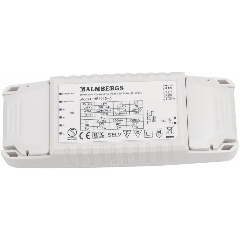 LED-liitäntälaite MB 150x52x28 mm 15W 350-550mA 6-30V DC himmennettävä