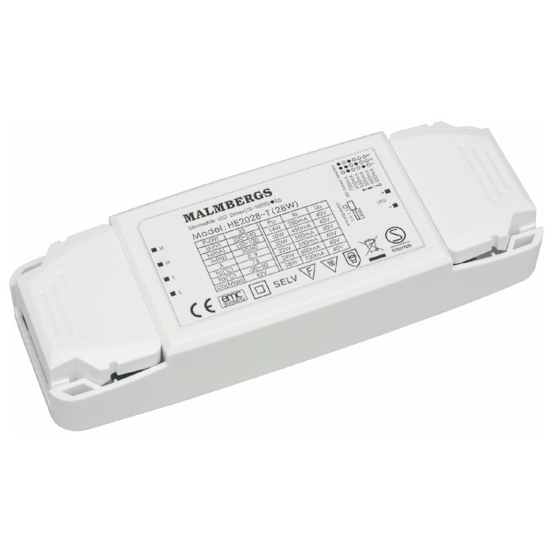 LED-liitäntälaite MB 150x52x28 mm 28W 350-700mA 20-40V DC himmennettävä