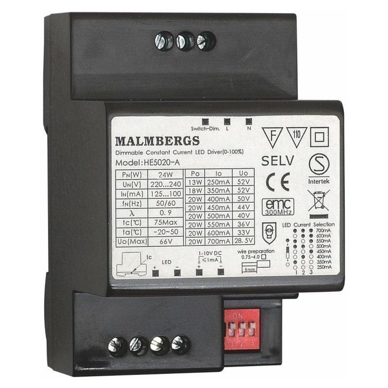LED-liitäntälaite MB 20W 250-700mA 6-52V DC DIN-kiskoon himmennettävä