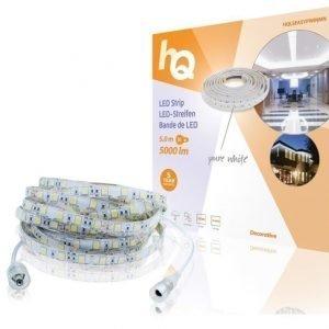 LED-nauha helppo kiinnitys puhdas valkoinen sisä- tai ulkokäyttöön 5000 lm 5 00 m