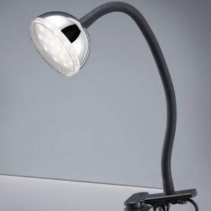 LED-pöytävalaisin Tondo Ø 80x300 mm kromi nipistimellä