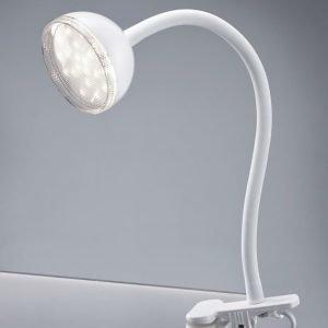 LED-pöytävalaisin Tondo Ø 80x300 mm valkoinen nipistimellä