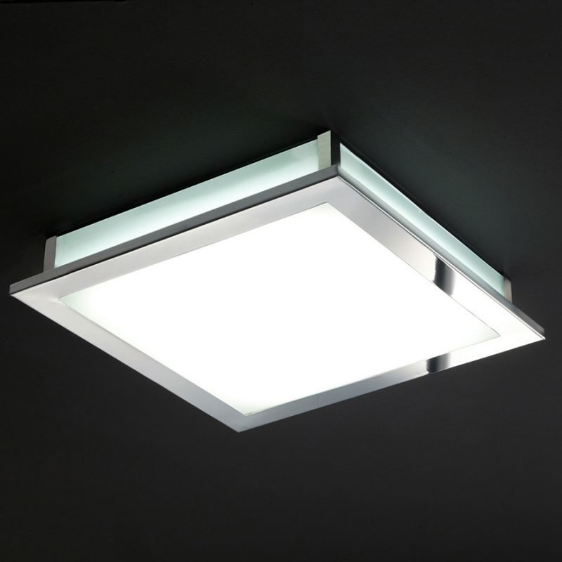 LED-plafondi Square 385x385x65 mm kromi/opaalilasi