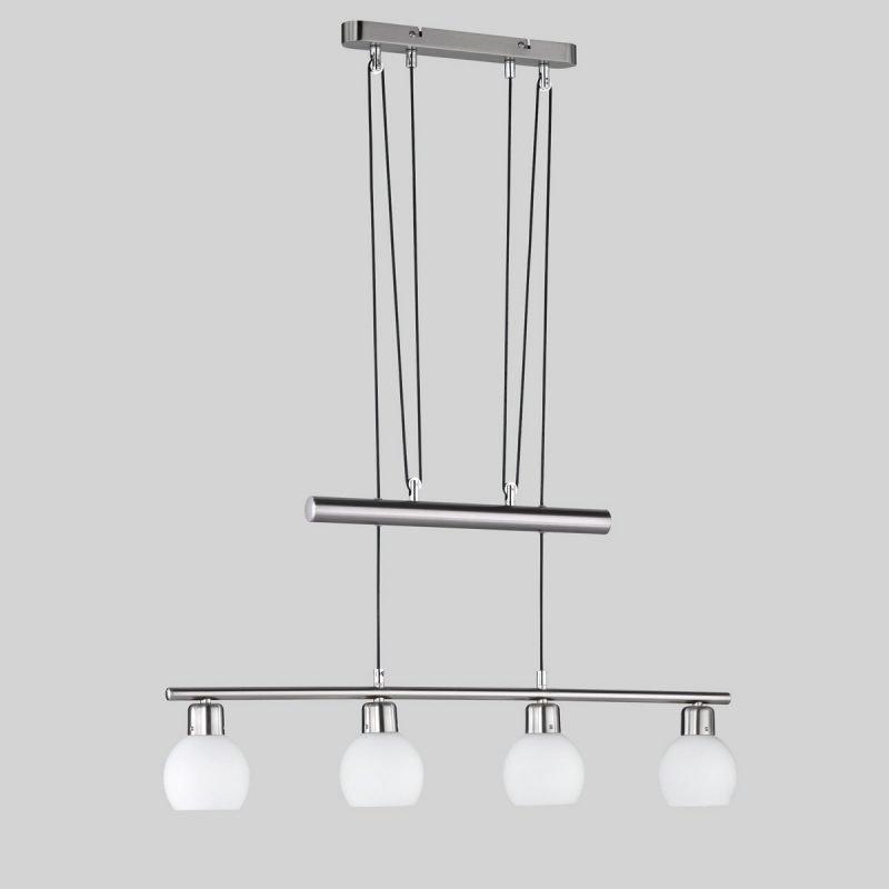 LED-riippuvalaisin Adele 780x100x1800 mm 4-osainen harjattu teräs/opaalilasi