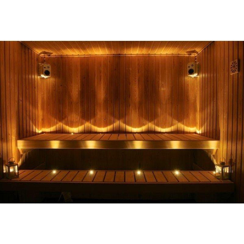 LED saunavalosetti Timburg 12 osaa lämmin valkoinen messinki