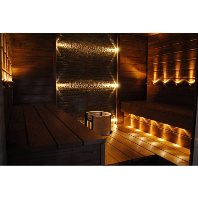 LED saunavalosetti Timburg 12 osaa lämmin valkoinen teräs kehys