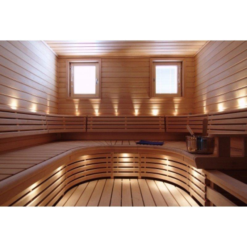 LED saunavalosetti Timburg 18 osaa lämmin valkoinen messinki