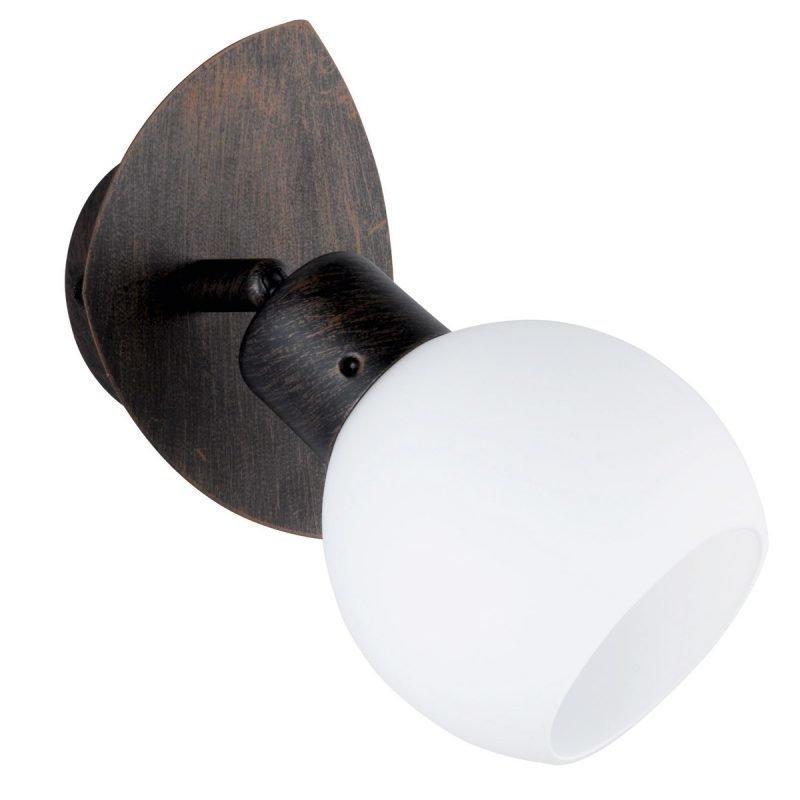 LED-seinäspotti Adele 130x90x190 mm antiikkiruskea/opaalilasi