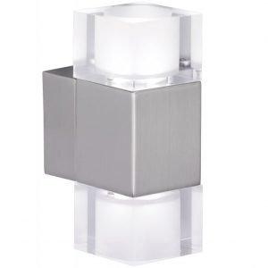 LED-seinävalaisin Cubetto 160x60x95 mm neliö harjattu teräs