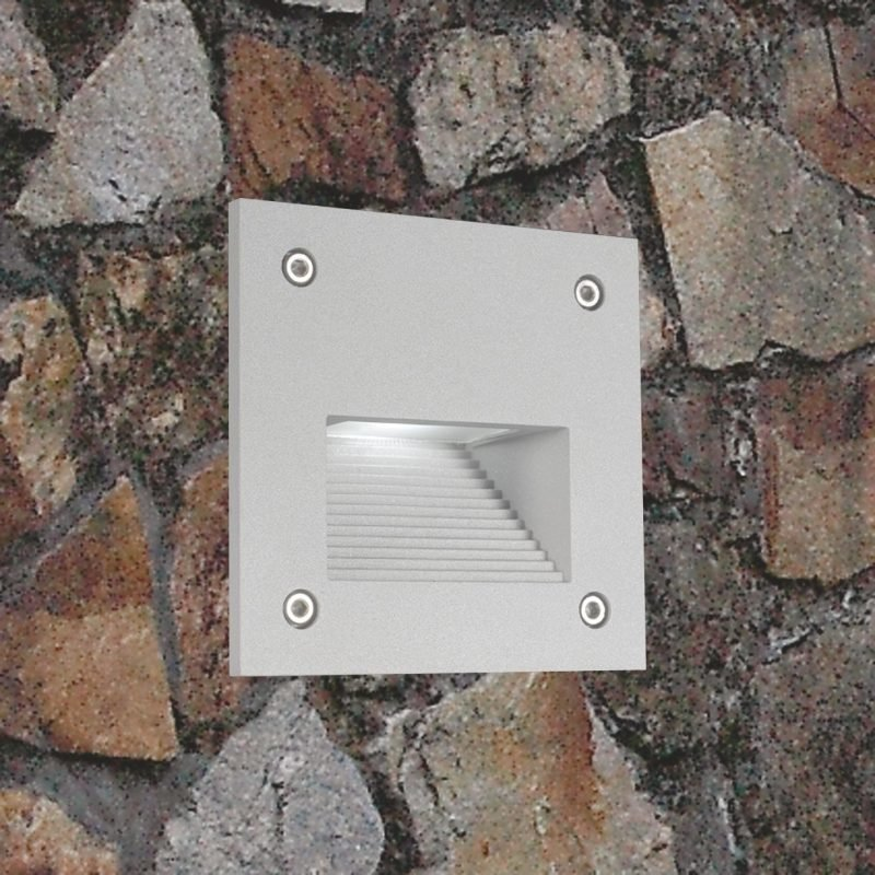 LED-seinävalaisin In-Wall Out 3W 3000K 150lm IP55 100x100x95 mm harmaa