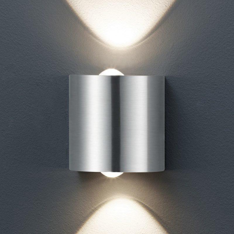LED-seinävalaisin Wales 90x60x90 mm ylös/alas harjattu teräs