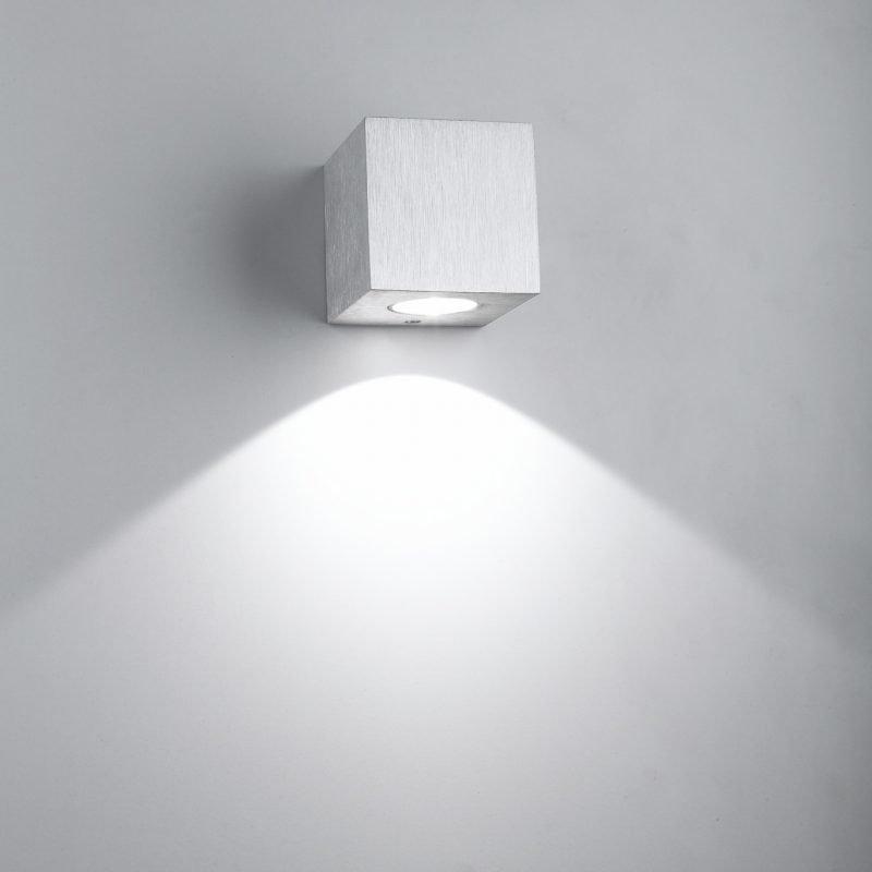 LED-seinävalaisin Wall Cubic 3W 3000K 200lm 65x70x65 mm yksisuuntainen harjattu alumiini