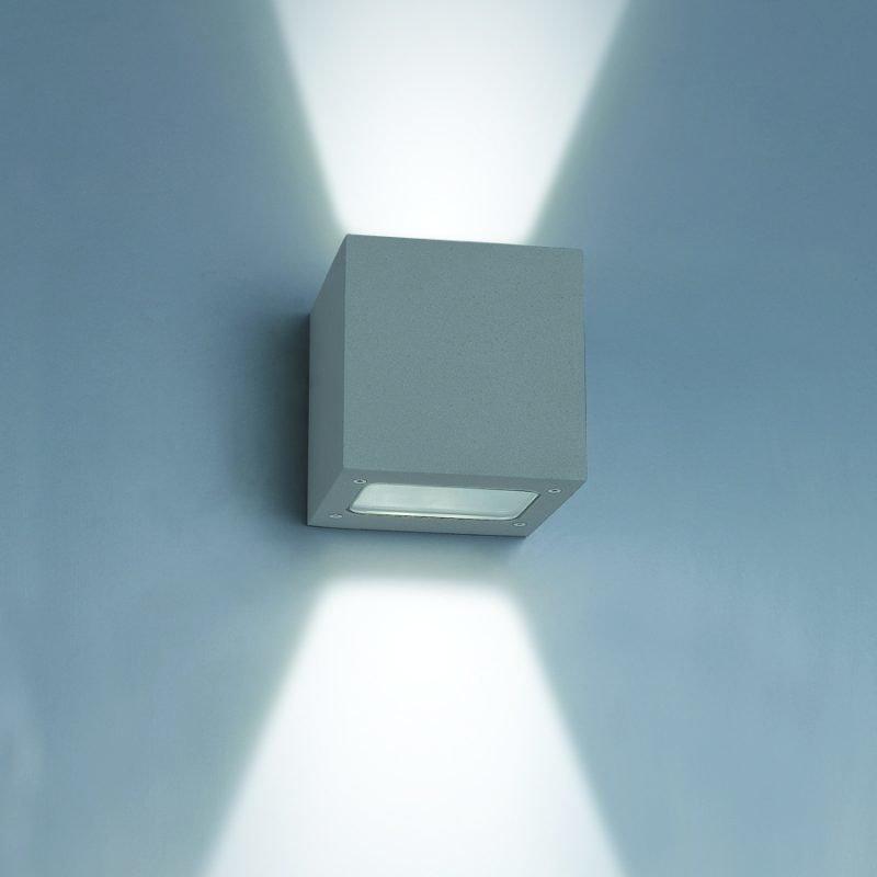 LED-seinävalaisin Wall Out Cubic 2 2x3W 3000K 2x200lm IP55 100x120x100 mm kaksisuuntainen harmaa