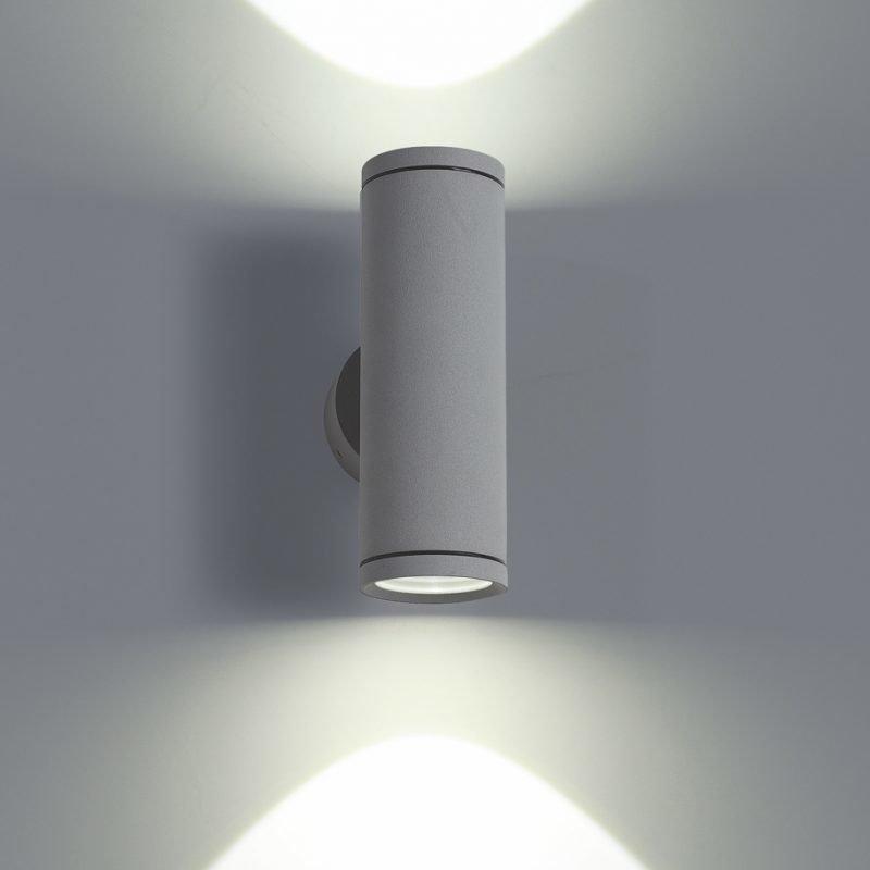 LED-seinävalaisin Wall Out Round 2 2x3W 3000K 2x180lm IP55 60x110x180 mm kaksisuuntainen harmaa