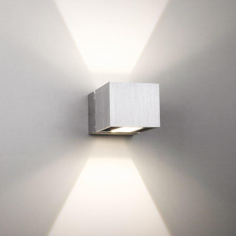 LED-seinävalaisin Wall Wave 2x3W 3000K 2x225lm IP54 70x125x80 mm kaksisuuntainen harjattu alumiini