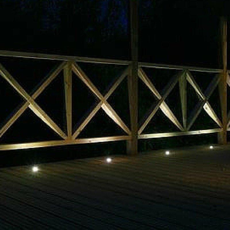LED terassivalosarja 4 kpl IP44 3000K lämmin valkoinen ja hämäräkytkin