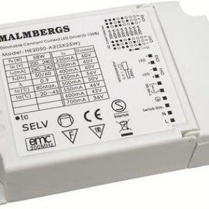 Liitäntälaite LED-Multikonvertteri MB 123x80x30 mm 2x25W 60V 350mA/700mA himmennettävä