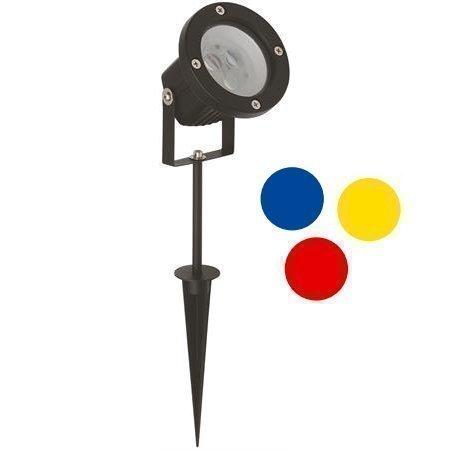 Maapiikkivalaisin Spot II LED 12V IP44 Ø 95x300 mm värilaseilla