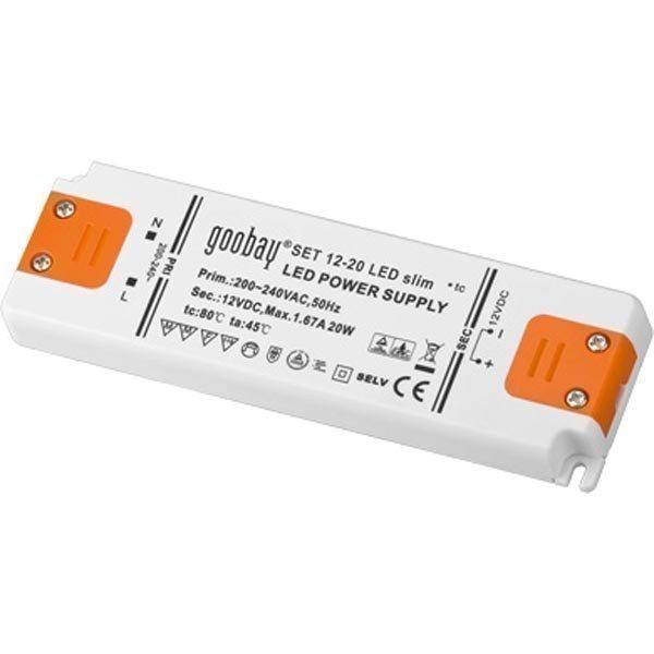 Muunnin LED-valaistukseen 20W 230V AC 12V DC IP20