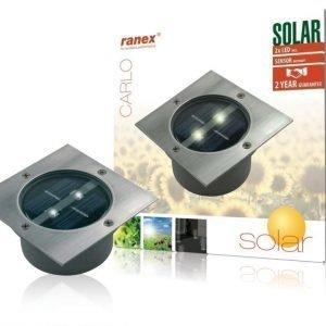 Nelikulmainen LED-aurinkokennolla varustettu maahan asennettava kohdevalaisin