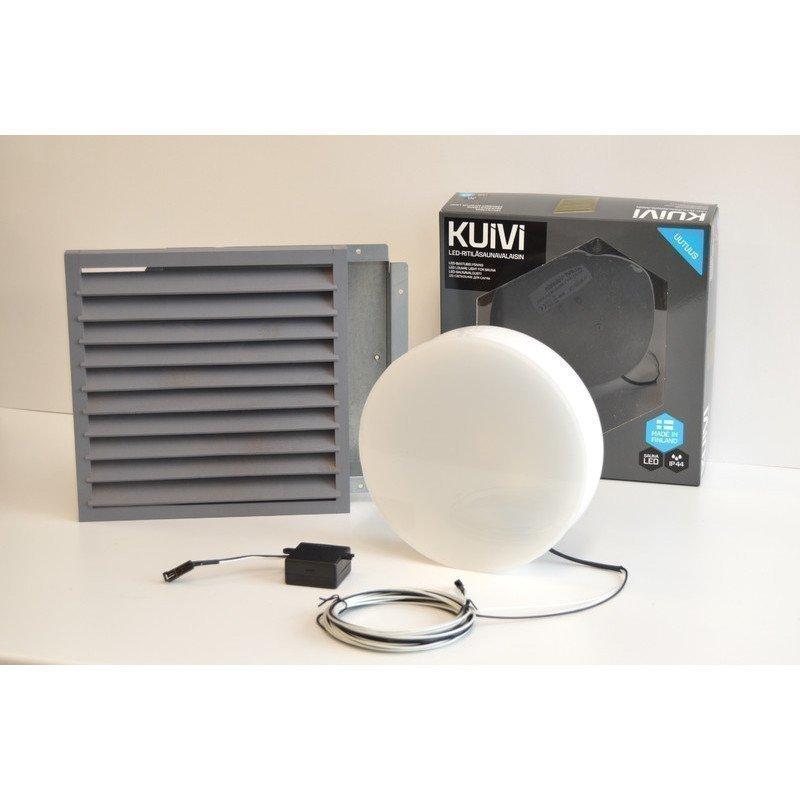 Overled Kuivi LED-saunavalaisin 3000K Harmaa uppo-asennus + 5m liitosjohto (4128485)