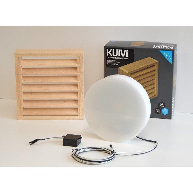 Overled Kuivi LED-saunavalaisin 3000K Vaalea leppä pinta-asennus + 5m liitosjohto (4128429)