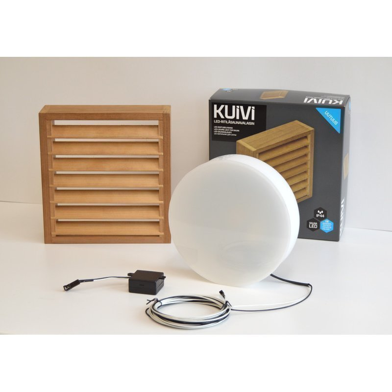 Overled Kuivi LED-saunavalaisin 3000K lämpö haapa pinta-asennus + 5m liitosjohto (4128432)