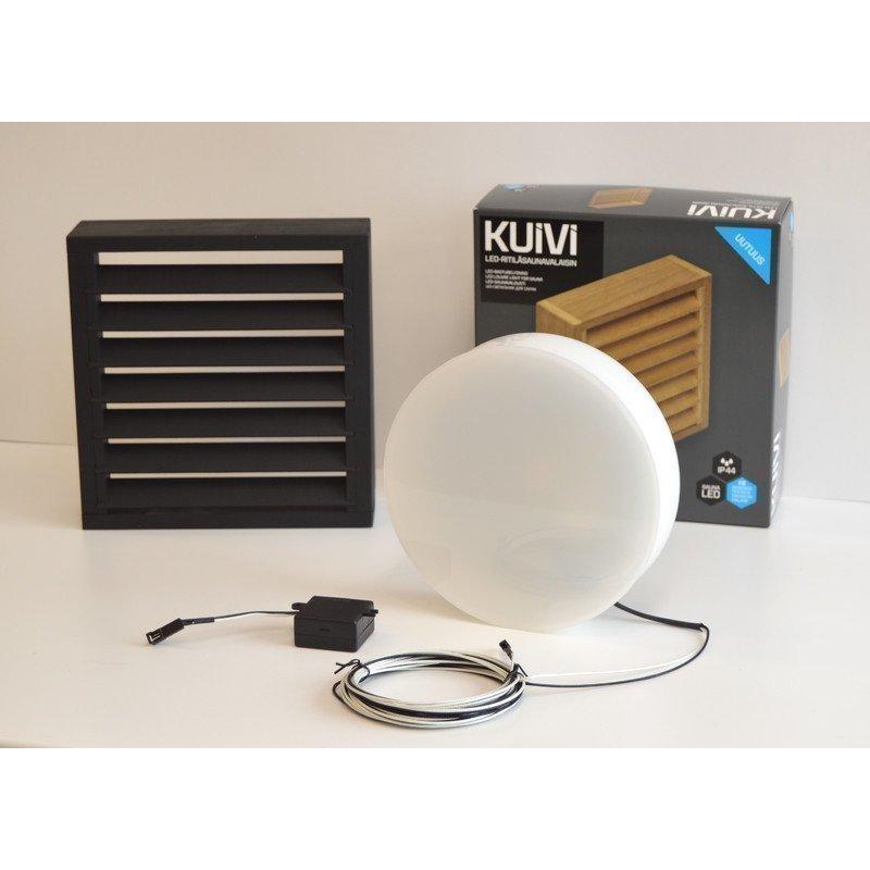 Overled Kuivi LED-saunavalaisin 3000K musta pinta-asennus + 5m liitosjohto (4128431)