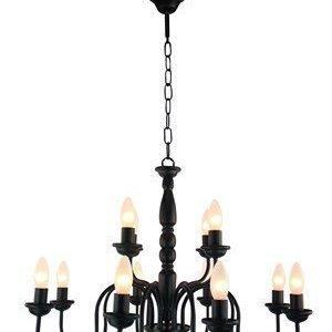 PR Home Bergen Kattokruunu Musta 8+4 Kynttilä 65cm