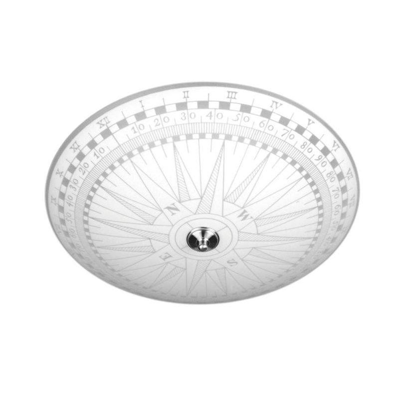 Pholc Plafondi Kompass Ø 500x170 mm lasi valkoinen kuvioitu