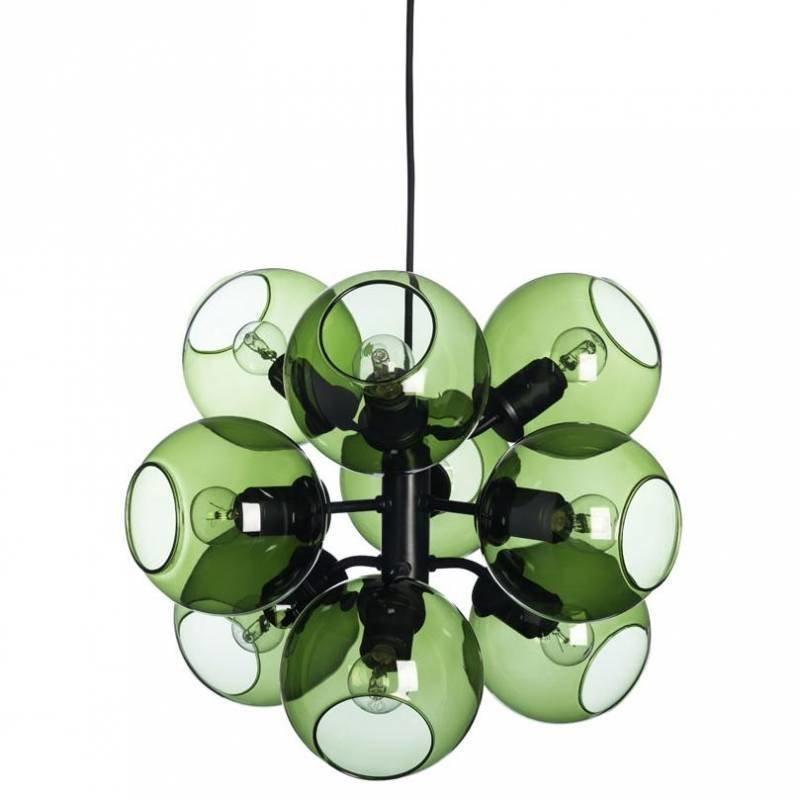 Pholc Riippuvalaisin Tage Ø 550x370 mm 9-osainen musta/vihreä lasi