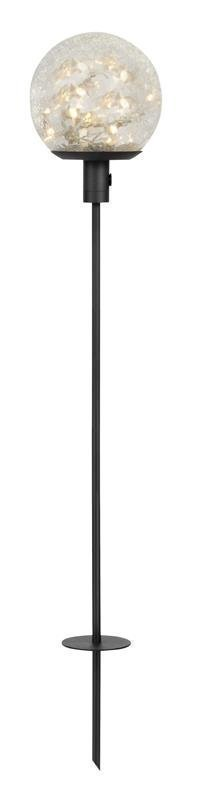 Puutarhavalaisin Ball LED Cracked Ø 150x600-850 mm musta/kirkas särölasi 12V