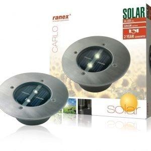 Pyöreä LED-aurinkokennolla varustettu maahan asennettava kohdevalaisin