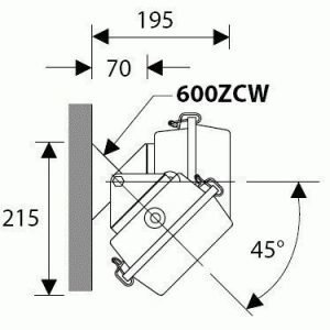 Säädettävä seinäkiinnikepari 600ZCW MB Bruno valaisimille
