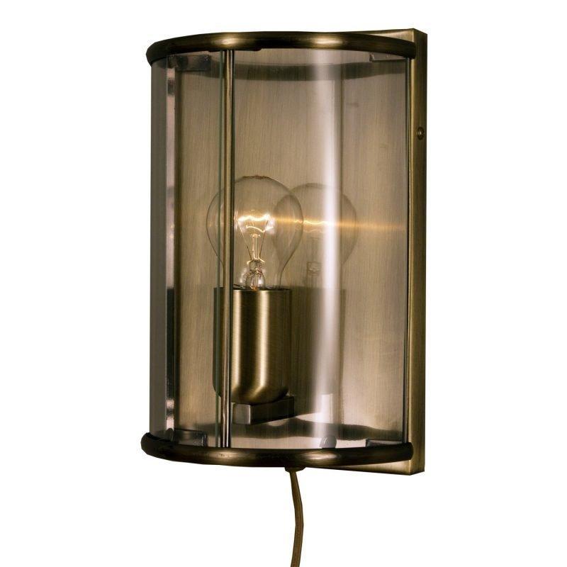 Seinävalaisin Budgie 150x115x250 mm antiikkimessinki/kirkas lasi