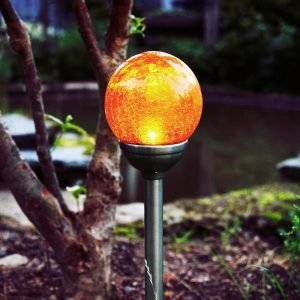 Star Trading Sol P Gång Ambr Glas 12cm Aurinkokennovalaisin Kromia