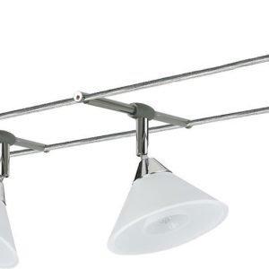 Vaijerivalaisinsetti Colmar kromi/satiini 4 valaisinta + vaijeri 10 m + muuntaja